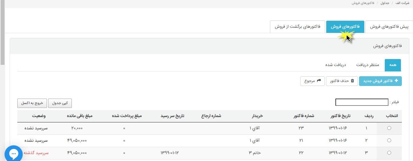 صدور فاکتور مرجوعی فروش  نرم افزار حسابداری آنلاین ابرستان